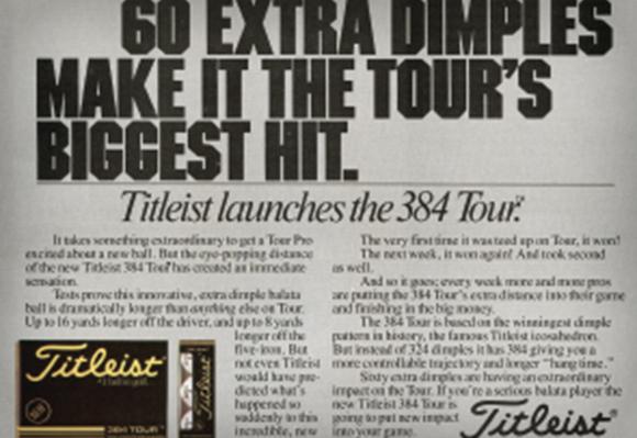 1983 새로운 384 Tour 골프볼이 혁신적인 디자인으로 7년간의 투어 성공 스토리를 시작하다.